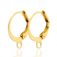 Stainless steel findings closable earrings with loop Gold
